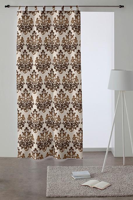 Cortina trabilla, modelo Damasco marrón