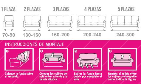 Fundas de sofá elásticas, medidas, instrucciones