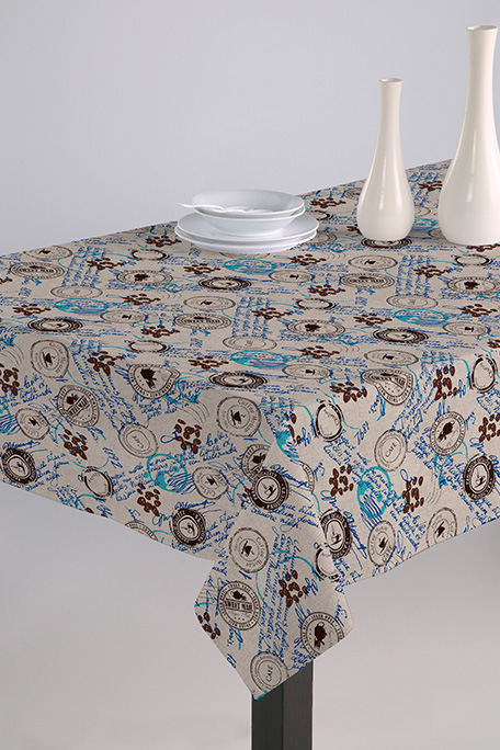 Mantel antimanchas, modelo Cofee azul