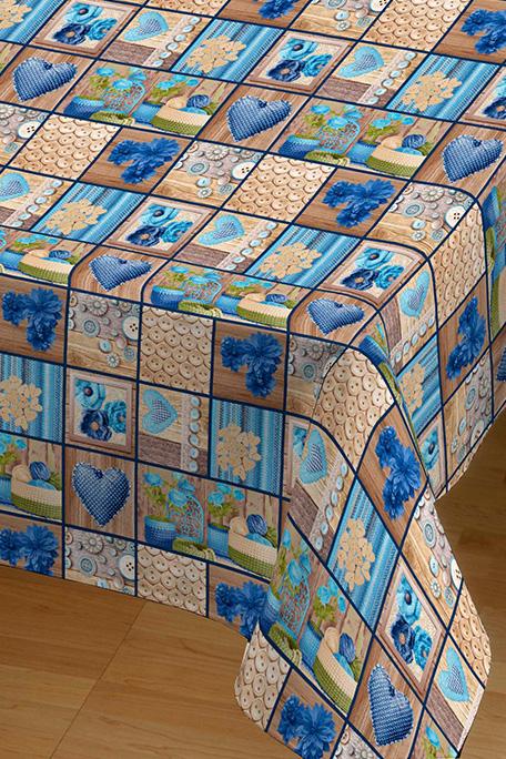 Mantel antimanchas, modelo Tricot azul
