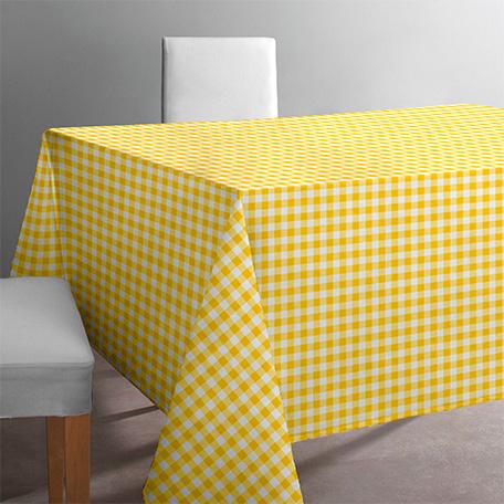 Mantel antimanchas, modelo Vichy amarillo