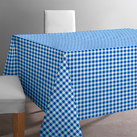 Mantel antimanchas, modelo Vichy azul