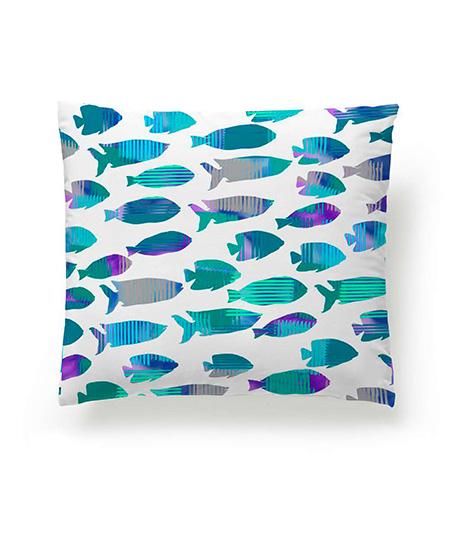 Funda cojín digital, modelo Fish Azul, cara A