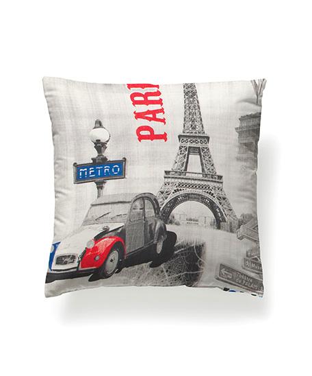 Funda cojín loneta, modelo París 3D