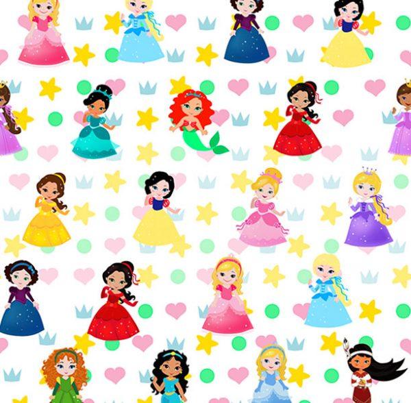 Tela algodón princesas