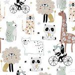 Tela algodon infantil animals circus