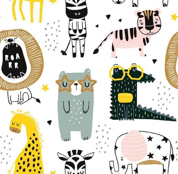 Tela algodon con animales