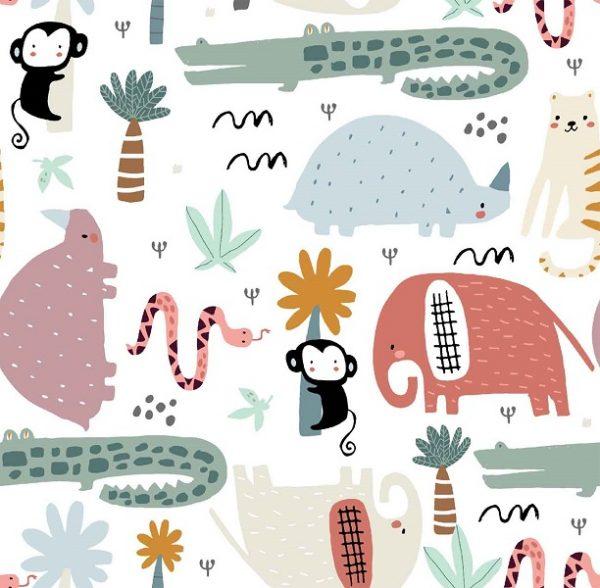 Tela algodon con animales tropicales