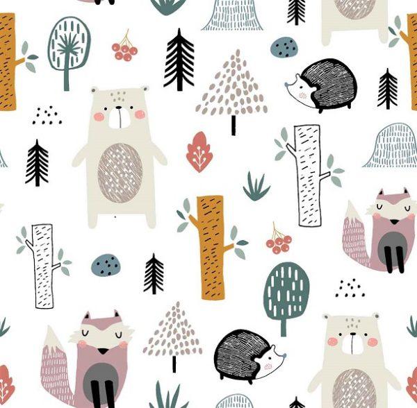 Tela algodon con animales de bosque
