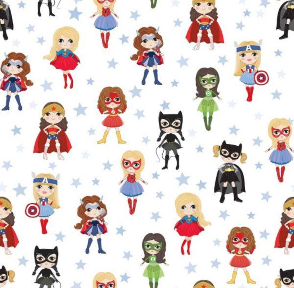 Tela algodon infantil con estampado de superheroinas